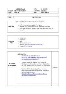 pe lesson plan template lesson plan input devices
