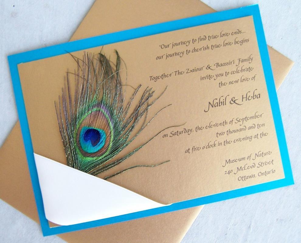 peacock wedding invitations