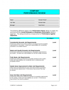 performance appraisal template performance review form