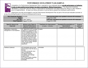performance improvement plan examples employee development plan template example employee development plan template
