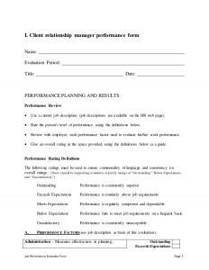 performance review forms client relationship manager performance appraisal