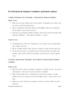 performance review forms professional development coordinator performance appraisal