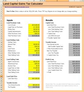 personal finance worksheets free land capital gains tax calculator
