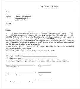 personal loan contract basic auto loan contract
