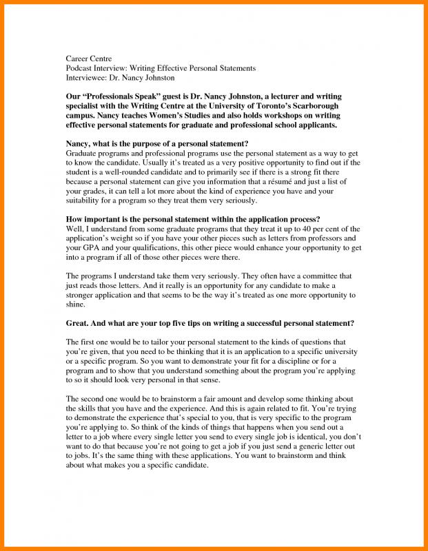personal statement graduate school