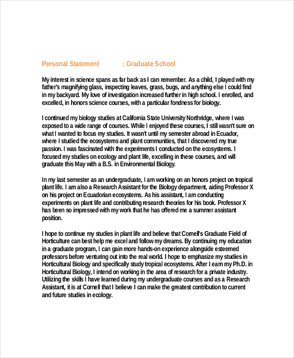 personal statement graduate school  template business personal statement graduate school