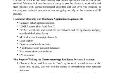 personal statements for graduate school how to write a gastroenterology personal statement