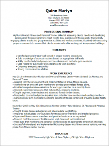 personal trainer resume fitness and personal trainer