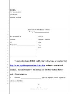 petition for divorce sample trial brief for california divorce
