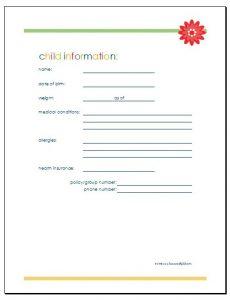 phone log template child information