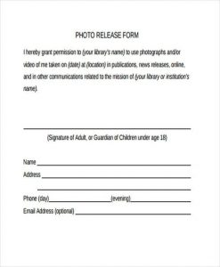 photo release form template general photo release form template