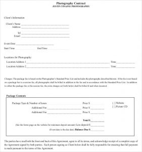 photography contract pdf photography contract agreement to client free down