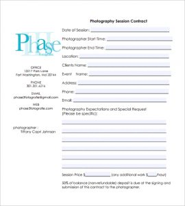 photography contract pdf photography session contract pdf free download