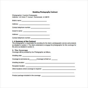 photography contract template sample wedding photography contract template