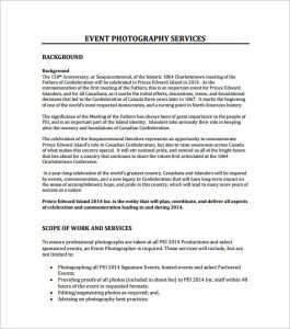 photography proposal template event photography proposal pdf