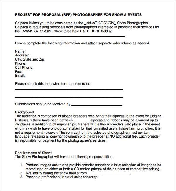 photography proposal template