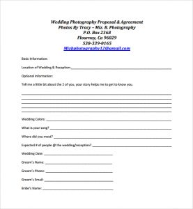 photography proposal template wedding photography proposal template