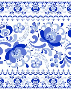 photoshop calendar template chinese blue and white seamless pattern vector