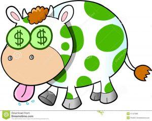 play money to print cash cow vector illustration art money