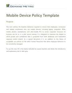 policy memo template mobile device policy template