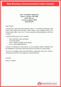 policy memo template new business announcement letter sample bank of information with new business announcement letter