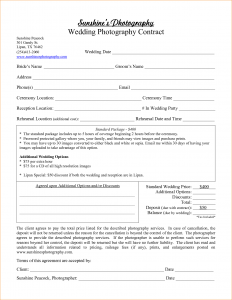 portrait photography contract wedding photography contract template