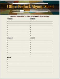 pot luck sign up sheet office potluck sign up sheet