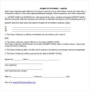 power of attorney document limited power of attorney template word document download
