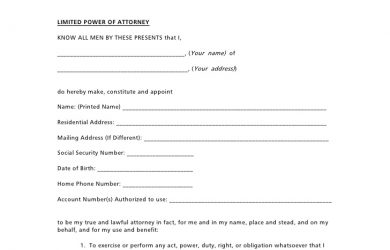 power of attorney document power of attorney form
