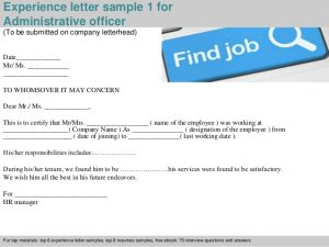 ppt certificate template administrative officer experience letter
