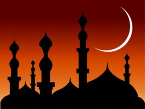 prayer cards template silhouette mosque with half shape moon