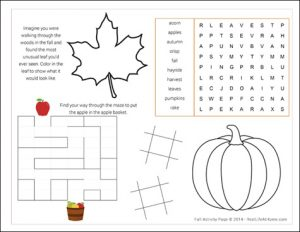 prayer lists template fall activity page