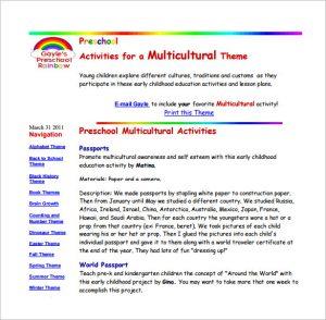 pre kindergarten lesson plan template preschool multicultural lesson plan free pdf download
