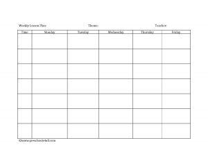 prek lesson plan template weekly lesson plan