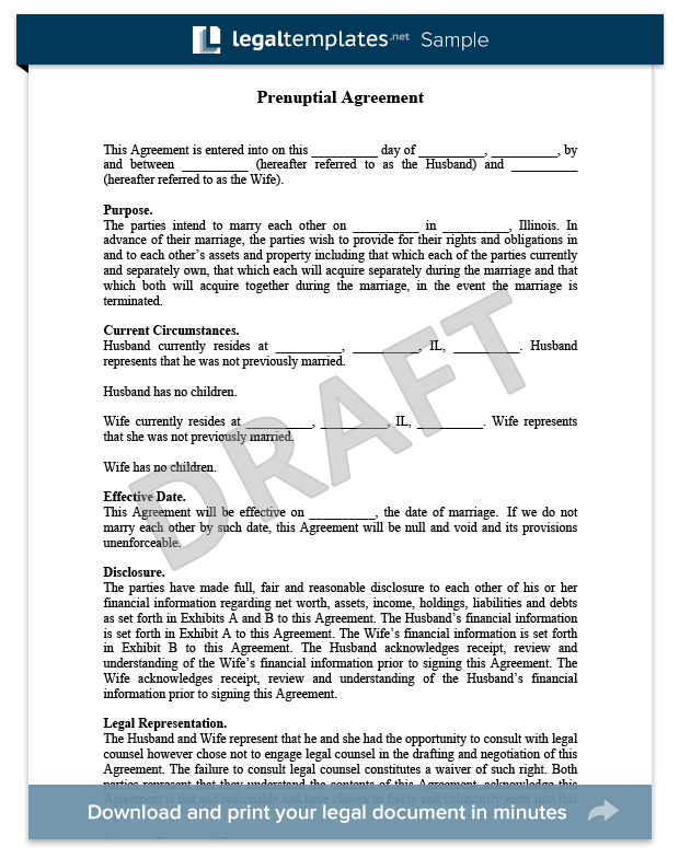 prenup agreement examples