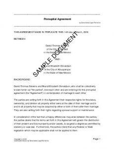 prenup agreements template prenup sample pdf