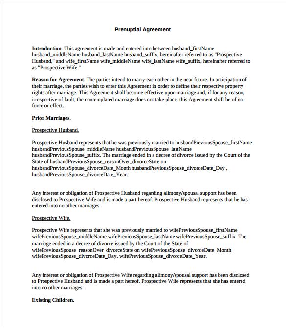 prenuptial agreement template