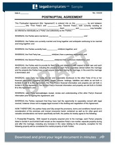 prenuptial agreement templates postnuptial agreement sample