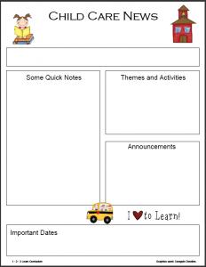 preschool newsletter template sept