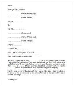 previous employment verification form employment verification letter format
