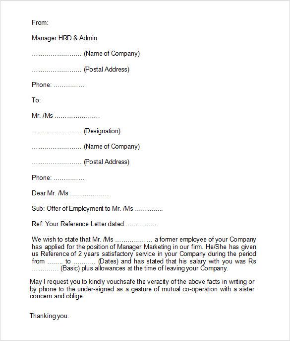 previous employment verification form