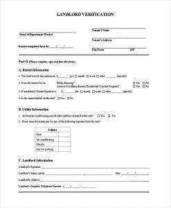 previous employment verification form landlord verification form