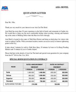 price quotation templates hotel room quotation letter
