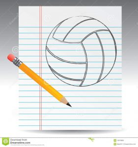 print notebook paper volleyball drawn paper pencil