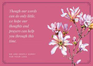 print out sympathy card canva pink bordered floral sympathy card macomtiwck