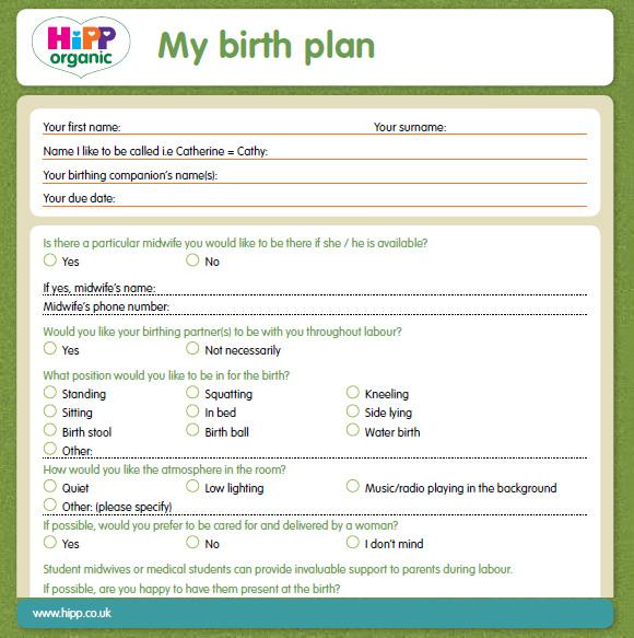 printable birth plan