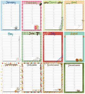 printable birthday calendar all
