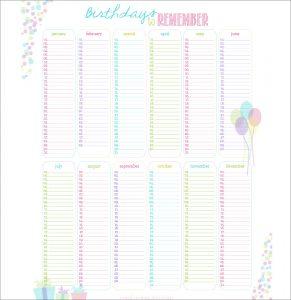 printable birthday calendar birthday printable calendar