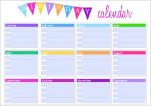printable birthday calendar birthday template