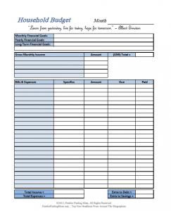 printable budget worksheet pdf simple blue household budget